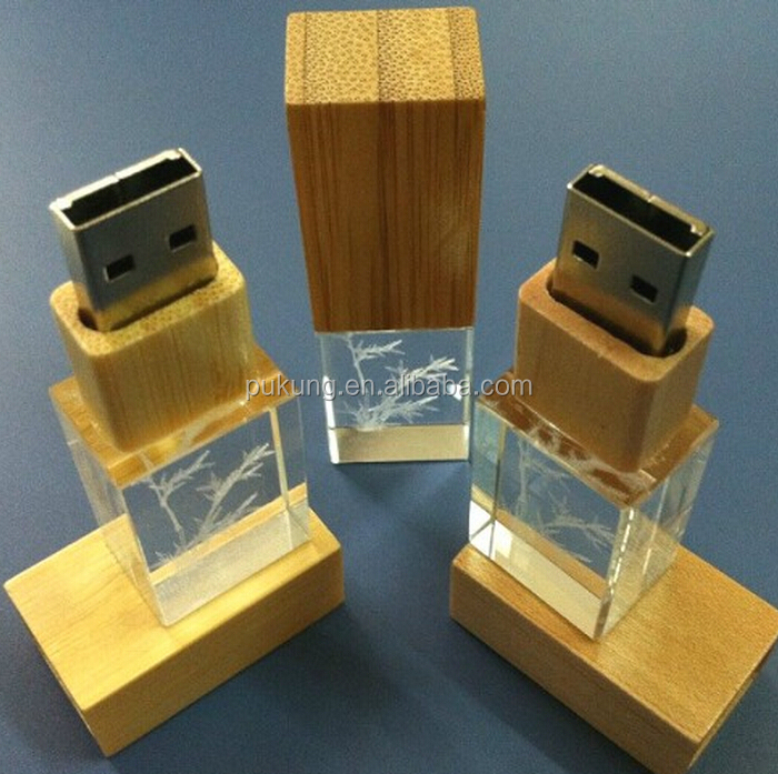 Hot sales gift crystal usb stick for computer, with laser engrave logo priting