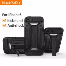 Kickstand card holder bumper tpu pc cell phone case cover for iphone 5 5s