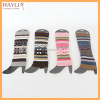 Colorful strip knitting pattern floppy slouch funky thick creochet knit christmas leg warmers winter warm leggings