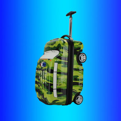 PC ABS case children travel luggage trolley bag, kids wheeled rolling suitcase of camouflage camo police patrol car wagon shape