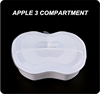 Food grade multi portions lunch box with 3 compartments apple shape white food box