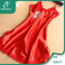 Comfortable long satin nighty dress colorful girls nighty sexy wear