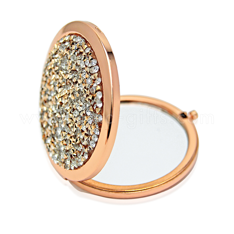Deluxe Glitter Rhinestone Embellished Girls Professional Artist Folding Makeup Mirror
