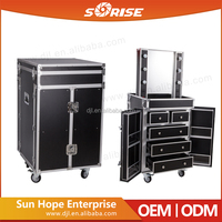 2016 Sunrise Newest Design Professional 4 Wheels Mobile Makeup Station Case with Light for Artiest
