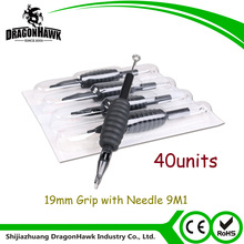 40units Disposable Silicone Tattoo Grip 19MM with Needle 9M1