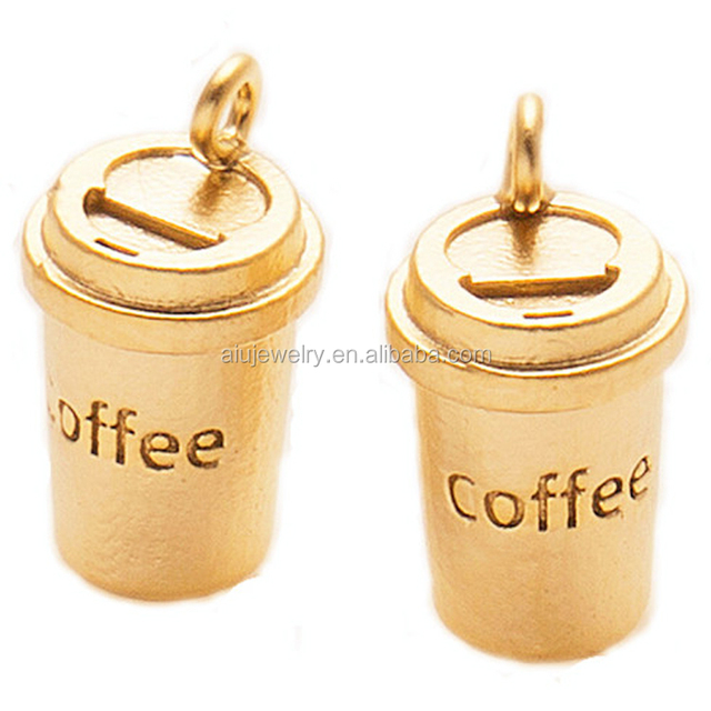 Gold Plated over Brass Coffee Charm Coffee Cup Pendant Jewelry Supplies