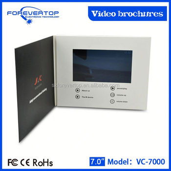 Artifical type new invitation card lcd screen greeting card brochure