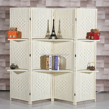 Two Shelves White Paper Rope Indoor Decorative Folding Screen Room Dividers