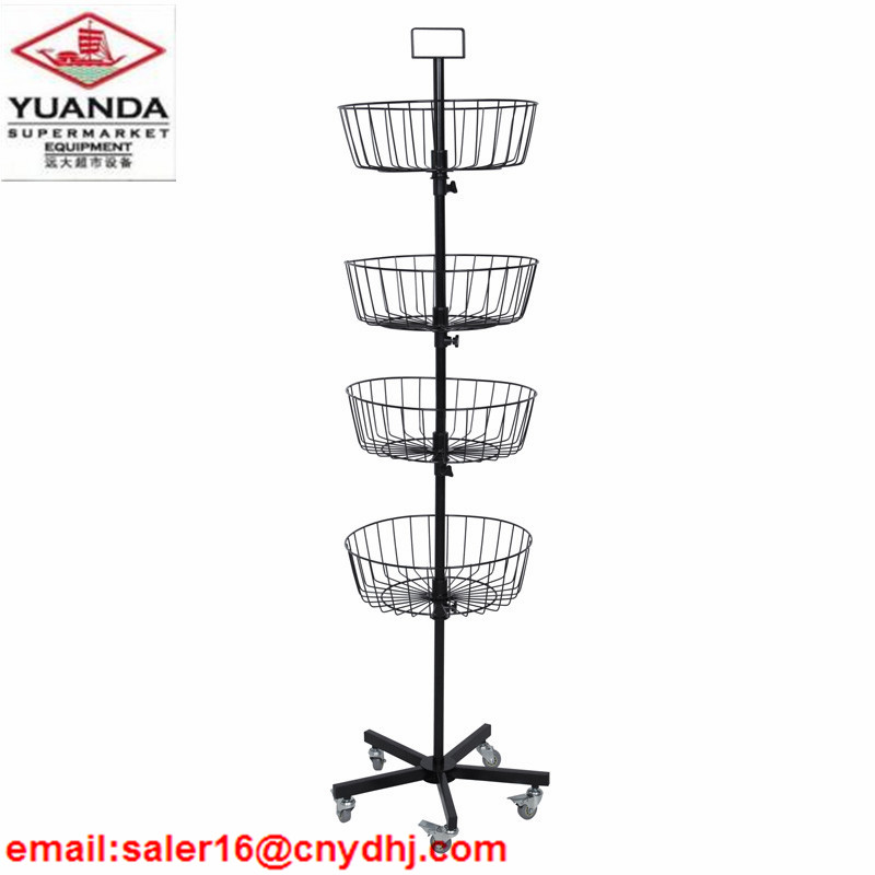 Hot Seller Top Grade Iron Wire Display Stands with 5 Wheels