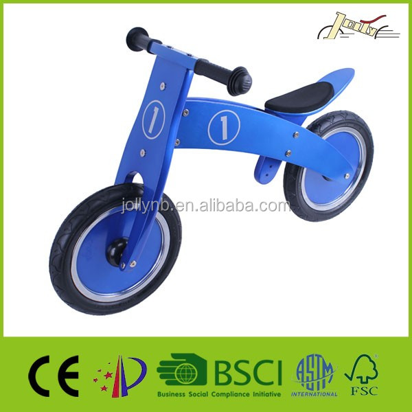 "Metalic Blue 12"" Wooded Balance Kids Bicycles"