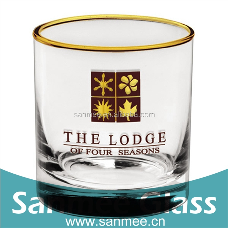 New Design Straight Shot Glass with Golden Edge