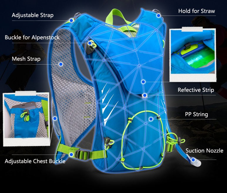 Hydration Pack Cycling Running Hydration Backpack, Outdoor Sports Gear for Running BackpackWith 2L BPA Free Water Bladder