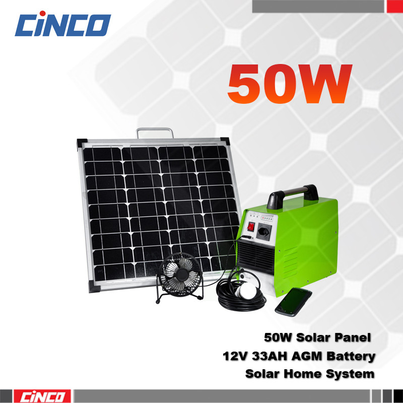50W portable solar power system for home use from China