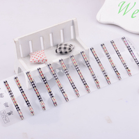 HL-0035C-1 65*5mm Smooth Wide Flat Straight Printed Metal Hair Pin Hair Clip Accessory Grid Tartan Check Women Lady Girl