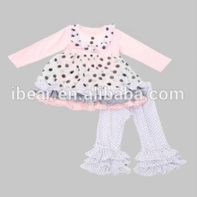 2017 baby clothes clothing pink wave point long sleeve white dots ruffle pant taiwan children clothes