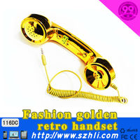 116DC gold Universal anti-radiation pop mobile phone handset&headset&receiver with CE&ROHS &FCC certificate