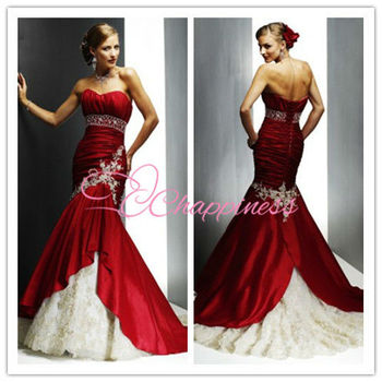 strapless red and white 2013 new bridal wedding dress