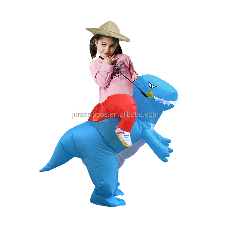 Kids Jurassic Inflatable Dinosaur Costume Children Toys Brithday Party Cosplay Blue