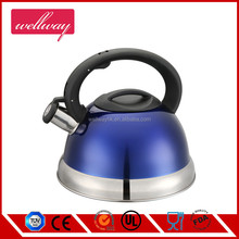 Traditional Stainless Steel Whistling Coffee Kettle Tea Pot in High Gloss Navy Blue