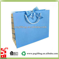 Custom new style sky blue paper shopping bags, sweet spot gift bag with ribbon bow tie, logo customized