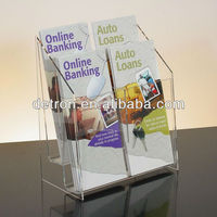 Clear Acrylic 4 Pockets Greet Card Display Stand