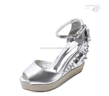 MZ594 peep toe wedge heel rhinestone kid leather handwork sandal