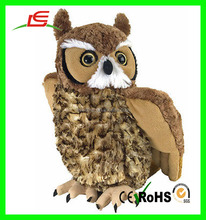 LE brand cuddle plush toy stuffed animal realistic brown owl bird
