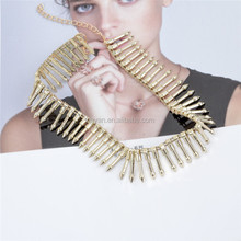 Fashion exaggerated punk necklace gold metal chain choker