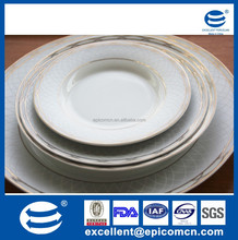 high quality gold decoration royal ceramic dinner dishes and soup plates