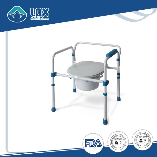 Deluxe height adjustable folding commode chair for old people