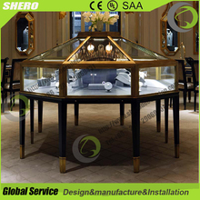 Fashion new design wood glass jewelry display case for sae