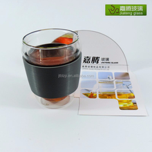 Christmas gift,Unbreakable Pyrex glass drinking custom Espresso 350cc clear double wall glass