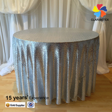 Manufacturer embroidery metallic glitter silver sequin wedding table cloth