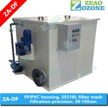 Aquaculture rotary drum filter for fish farming tanks