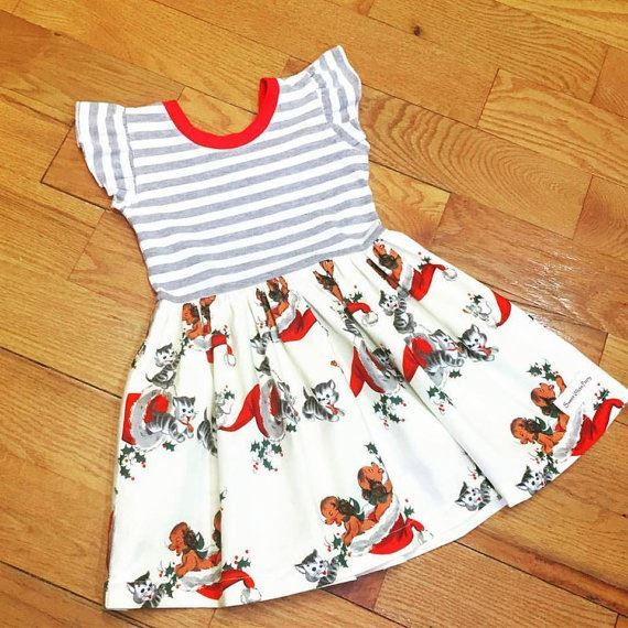 High quality children 100% cotton remake holiday christmas cat dog boutique stripe dress for lovey girls