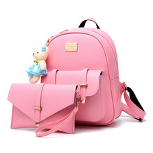 2pcs/set Women Backpack Set Cute small bear Backpacks for Teenage Girls PU Leather Women's Bags and Wallet