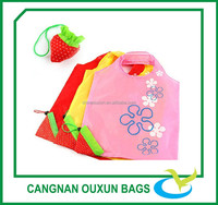 Small reusable polyester fruit folding shopping anime bags