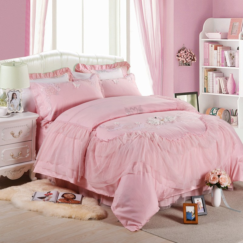 Home textile 100% cotton Pink swan comfortable designer bedding sets/4 piece queen size bed sheet sets