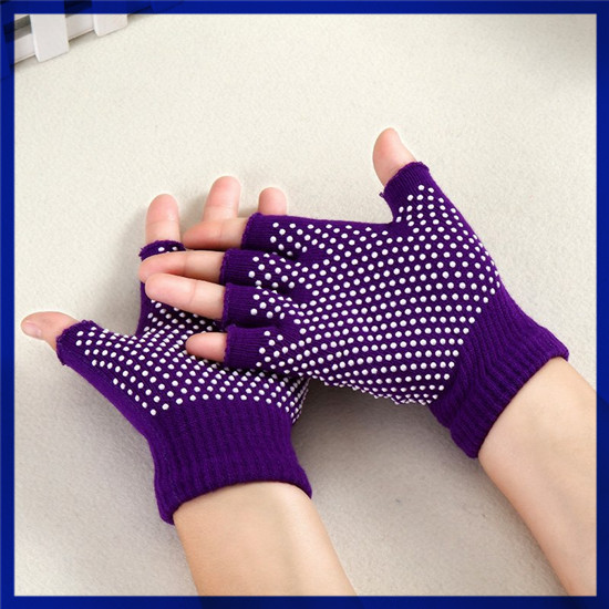 Manufacturer Anti-Slip Half Finger Knitted Yoga Pilates Sporty Gloves