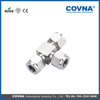 Handware fittings stainless steel double ferrule tee fittings