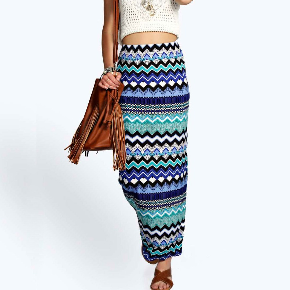 B32552A New Fashion bohemian Floral Print Beach Maxi Long Skirt For Women