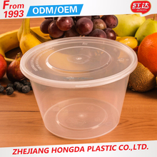Microwave PP Disposable Plastic Round Food Container with Lid 500ML