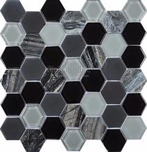 hexagon crystal & stone black mix mosaic tile