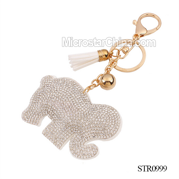 2016 IN STOCK White beaded crystal dog Keychain for bags