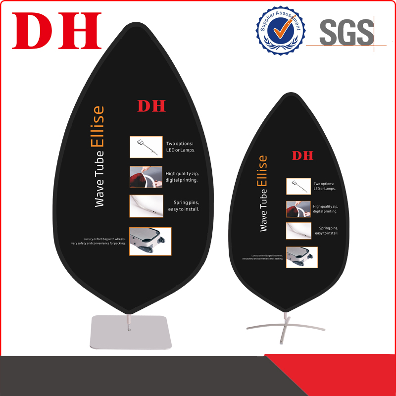 pop up pvc flex banner of wave tube ellise