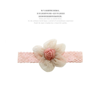 2016 New Pink Baby Girl Infant Knitted Hairband Mesh Flower Headband For Wholesale European Baby Girl Hair Accessory