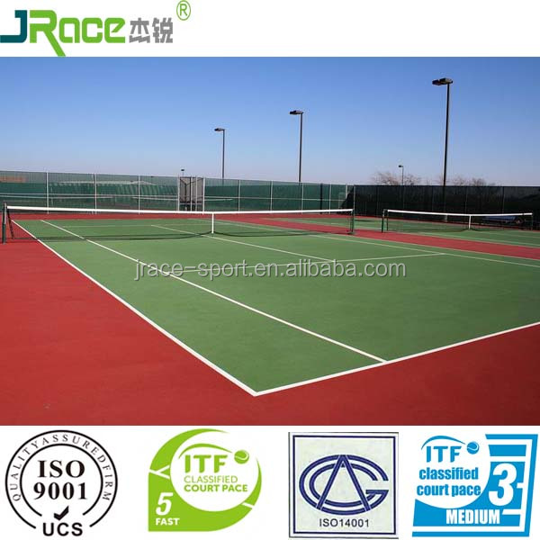 Guangdong anti-slip synthetic sports flooring tennis court surface tennis court cover
