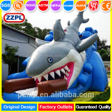 ZZPL Customized PVC kids outdoor event big shark inflatable slide for sale