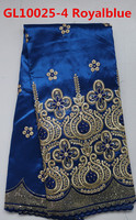 2014 beaded raw silk george lace fabric of gl10025-4 royal blue