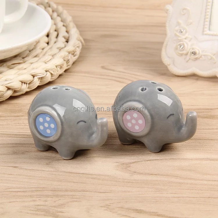 Ywbeyond Christening Gifts <strong>wedding</strong> favors Little Peanut Elephant ceramic Salt and Pepper Shakers for Baby Shower Gifts